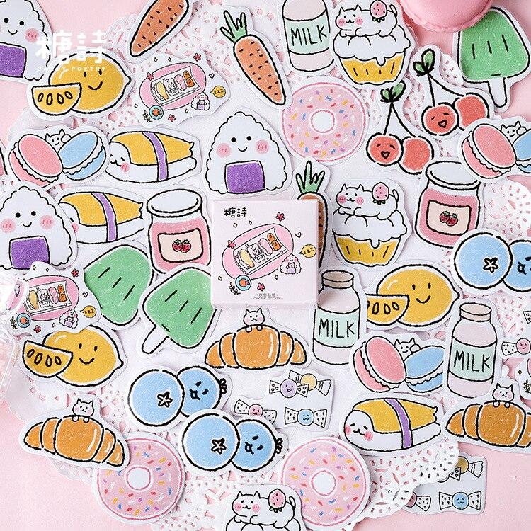 45-pz-lotto-fai-da-te-diario-sticker-bella-ciambella-frutta-manuale-cute-decorazione-etichetta-adesiva-scrapbooking-adesivi