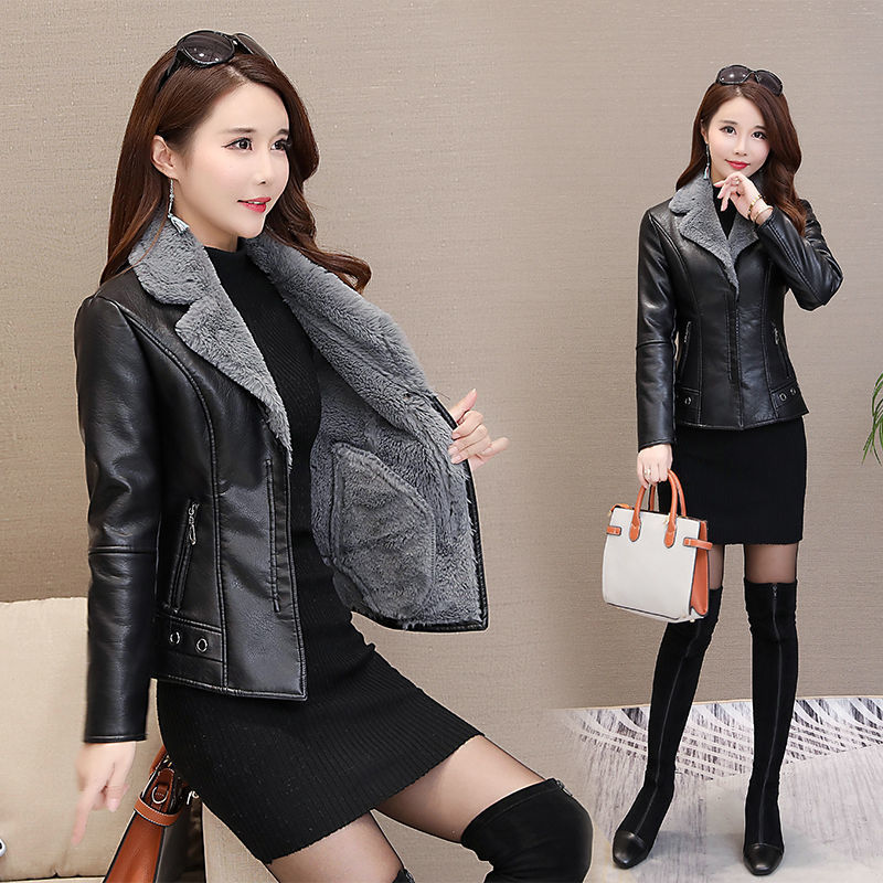 Black Leather Jacket 2021Autumn Winter Women Faux Fur Coat Warm Plush Thicken Female Slim Short Outwear Biker Motorcycle Clothes enlarge