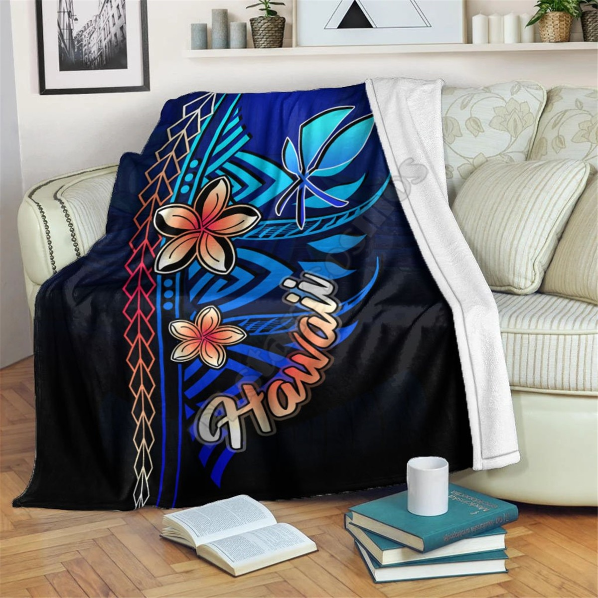 Hawaiian Turtle Premium Blanket 3D printed Sherpa Blanket on Bed Home Textiles HOME ACCESSORIES