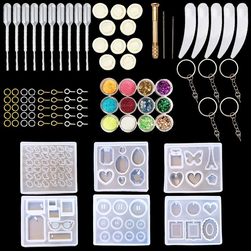 QIAOQIAO DIY moldes de joyería herramientas de fundición más moldes de resina de joyería de silicona con moldes de pendientes de diseño con diseños