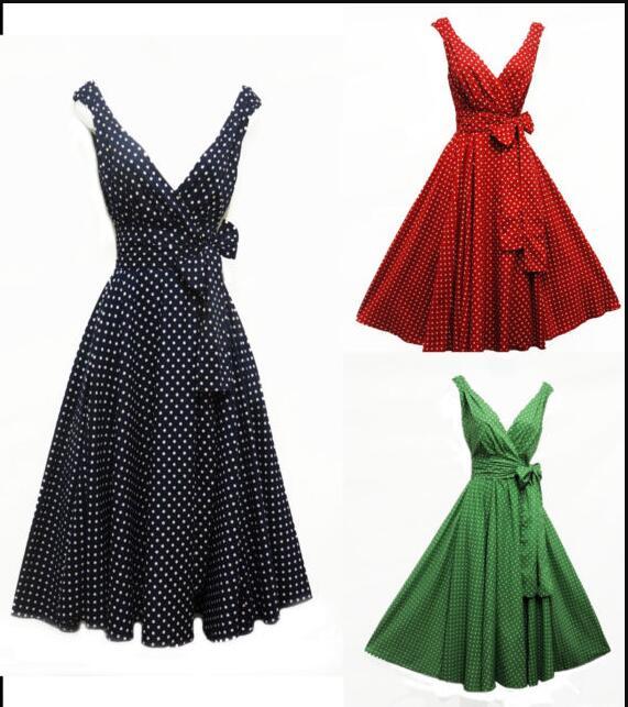 Vestido de verano Vintage sin mangas, negro, Sexy, dibujo de lunares, cuello en V, Rockabilly, para fiesta, talla grande, 2020