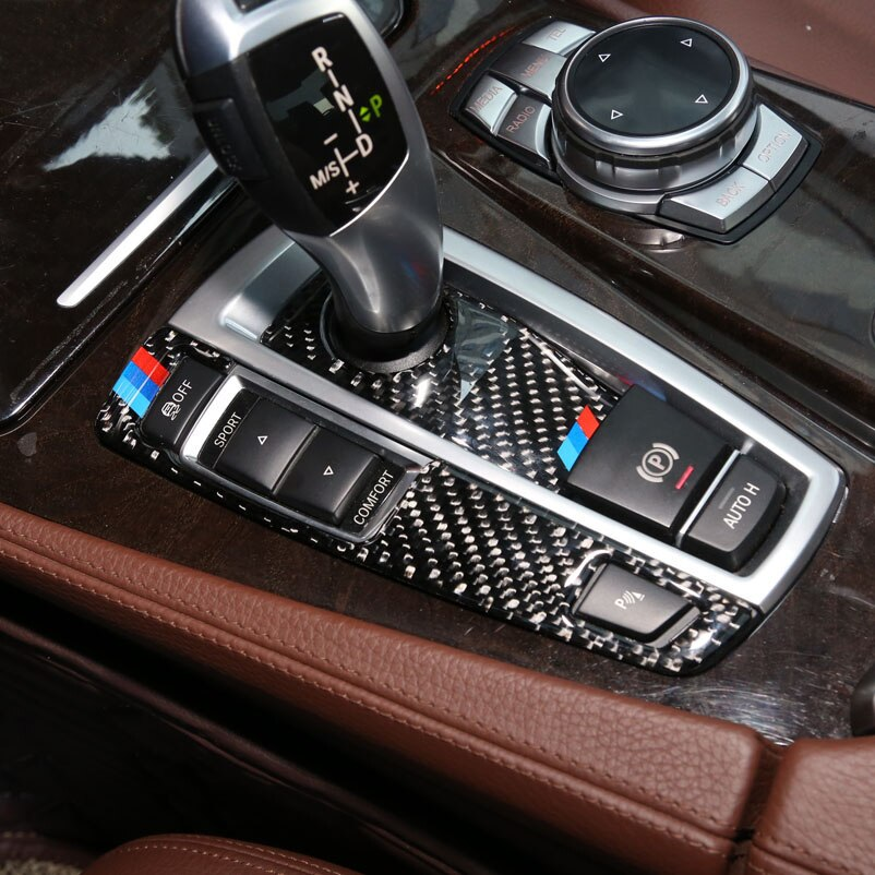 hot for mini cooper f60 countryman interior trim carbon fiber gear shift control panel cover sticker car styling accessories For BMW F10 F01 F25 F26 Interior Trim Carbon Fiber Gear Shift Control Panel Cover Sticker Car styling 5 7 series X3 X4 Accessor