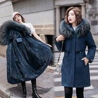 Женская зимняя Толстая куртка с шерстяной подкладкой, парки, теплые куртки средней длины с капюшоном, парка с мехом внутри, хлопковое пальто...