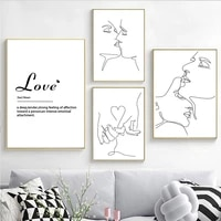 couple kiss line wall art posters black and white quote canvas painting love hand in hand art print modern picture bedroom decor