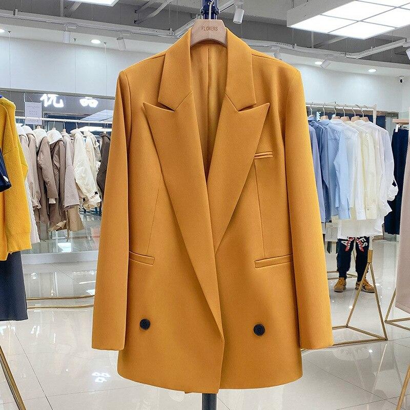 جودة عالية فضفاضة كبيرة الحجم المرأة البدلة 2021 جديد الخريف والشتاء عادية البرتقال السيدات سترة بدلة صغيرة المهنية ارتداء