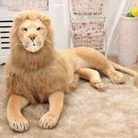 Большая крутая Лежащая подушка в виде льва, 110 см, живая модель с имитацией животных, детское украшение для дома, плюшевая кукла, детские игру...