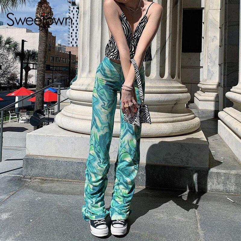 Sweetown Paisley Tie Dye Print Y2K Stacked Pants High Waist Women Joggers Sweatpants Korean Fashion Baggy Streetwear Outfits
