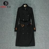 knee high end british wind 2021 spring and autumn new mid long windbreaker slim temperament black coat woman