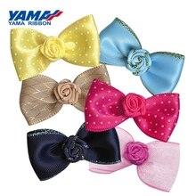 YAMA ленты бант с розовым цветком ширина 40 мм ± 3 мм 200 штук пакет головные уборы для девочек платье Аксессуары свадебные украшения своими рука...