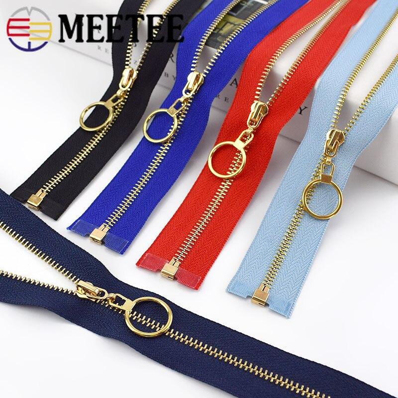 Meetee 2/5 Uds. 40-70cm 3 # cremallera de Metal de extremo abierto cierre automático cremallera de dientes de oro para accesorios de costura de la ropa DIY bolsas Material de la chaqueta