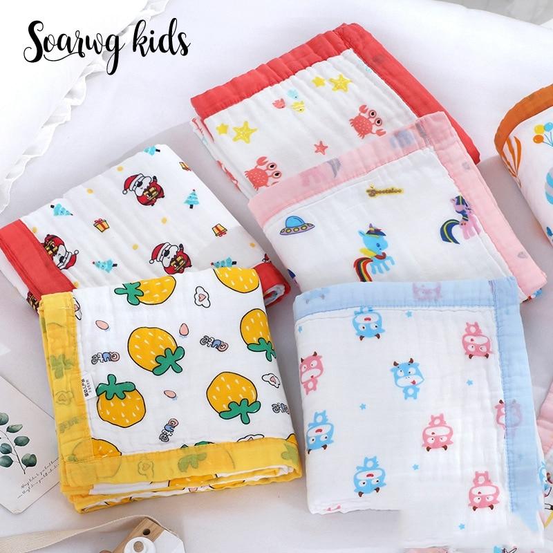 Soarwg crianças cobertores do bebê recém-nascido gaze toalha de banho infantil cama macia musselina cobertor dos desenhos animados do bebê etamina musselina swaddle wrap