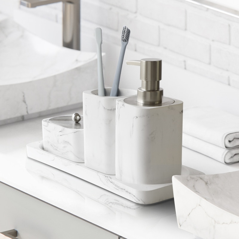 Bathroom Accessory Set Washing Tools Soap Dispenser Cotton swab box Mouthwash Cup Imitation marble Household Articles Shower Gel