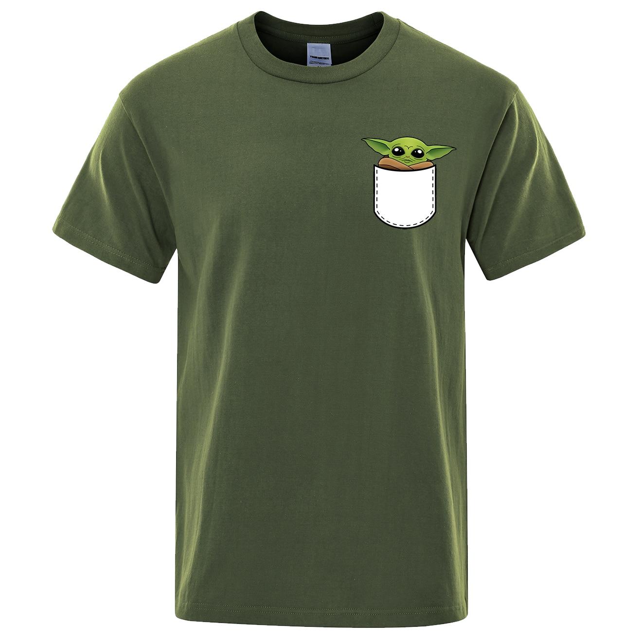 Baby Yoda Tshirt Men 2020 Summer New Cotton Short Sleeve Hip Hop T-shirt Cartoon Cute Yoda T shirt Movies Men Black Tees Tops