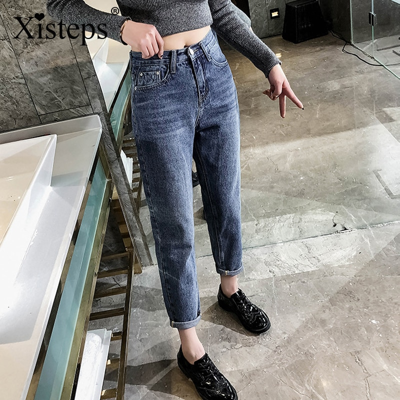 Xisteps Ankle Length New 2020 Autumn Loose Straight Lady Women Jeans Streetwear Zipper Jeans Pants Skinny Female Denim Pants women s casual loose denim overalls lady s strap harem jeans pocket ankle length pants for woman