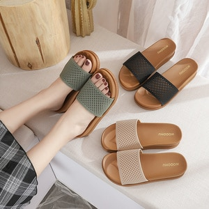2021 Designer Summer Sliders Shoes For Women Flat Casual Ladies Slippers Home Outdoor Soft Beach Slides Female Shoes For Women