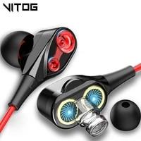 vitog 3 5mm wired earphone headphone in ear sport headset with mic mini earbuds earphones for iphone samsung huawei xiaomi