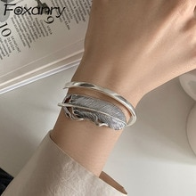 Foxanry 925 Sterling Silver Bracelet for Women Summer New Trendy Elegant Creative Vintage Feather Ad