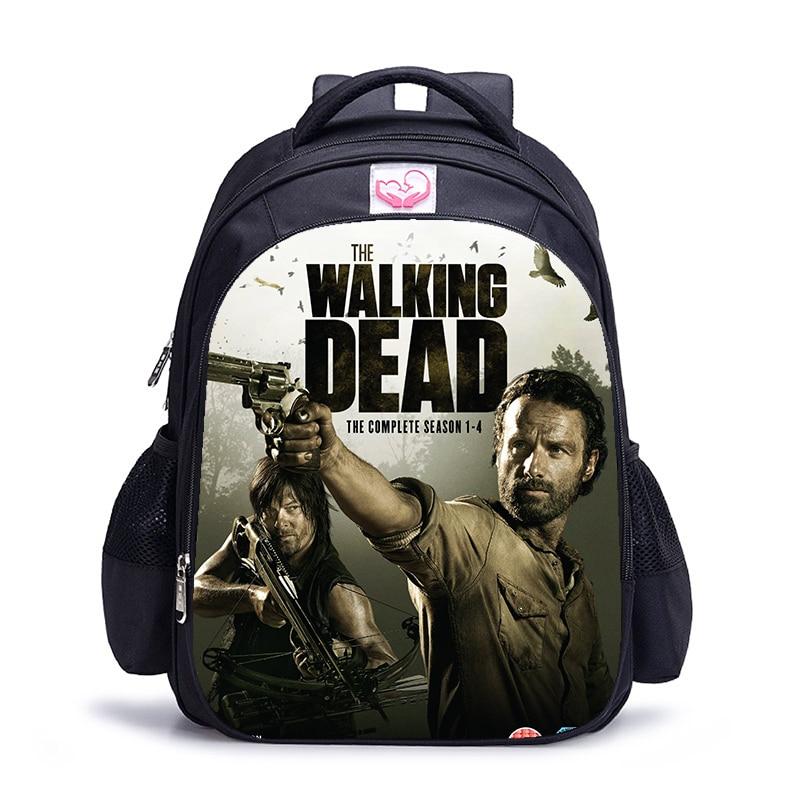 16 inch The Walking Dead School Bag for Kids Boys Girls Backpack Children School Sets Pencil Bag Tod