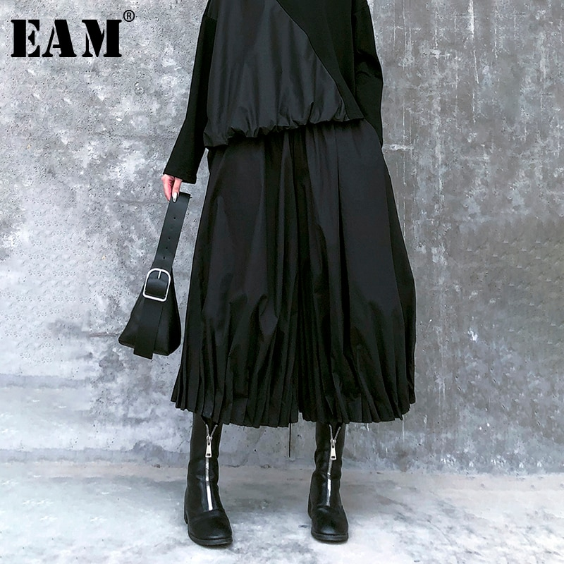 [EAM] pantalones de pernera ancha con abertura plisada negra de cintura alta elástica nuevos pantalones holgados para mujer moda Primavera otoño 2020 1R456
