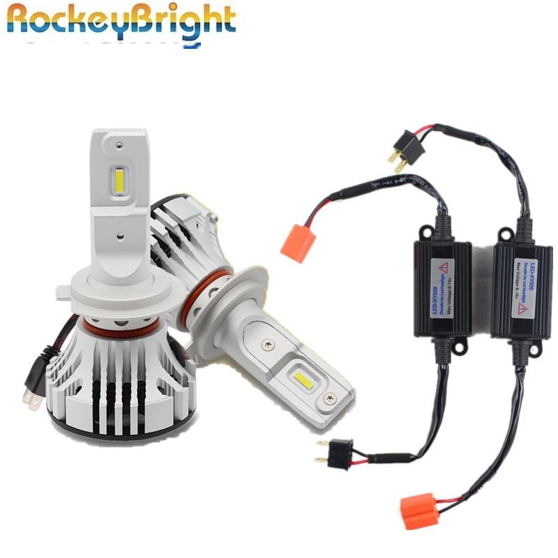 Rockeybright 72W 12000Lm F2 H7 LED Headlight Bulbs Conversion Kit+ H7 LED Headlight Canbus Decoder Error Free Warning Canceller