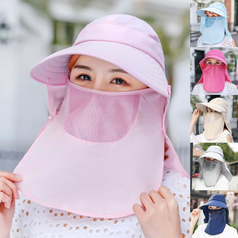 Women Men Anti-UV Sun Hat Outdoor Cap Wide Brim Neck Face Flap Protective Hiking