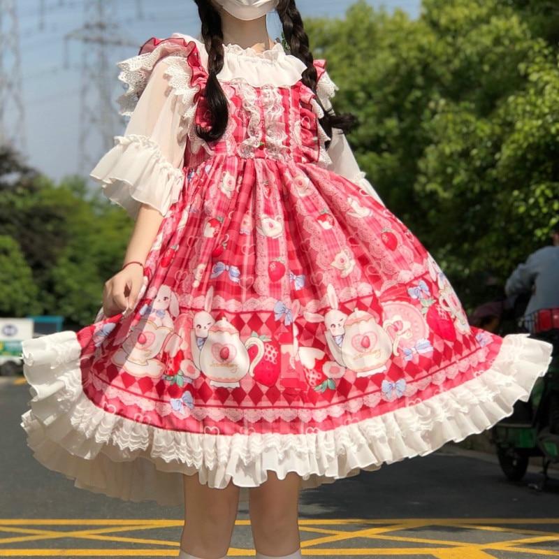 Vestido JSK japonés de dulce fresa Lolita para mujer, vestido de princesa diario Kawaii para niñas, disfraz de Cosplay de Lolita suave para fiesta de té