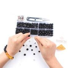 335 pièces lave perle Bracelet Kit en vrac noir lave pierre bijoux à bricoler soi-même faisant collier boîte de rangement élastique cristal chaîne