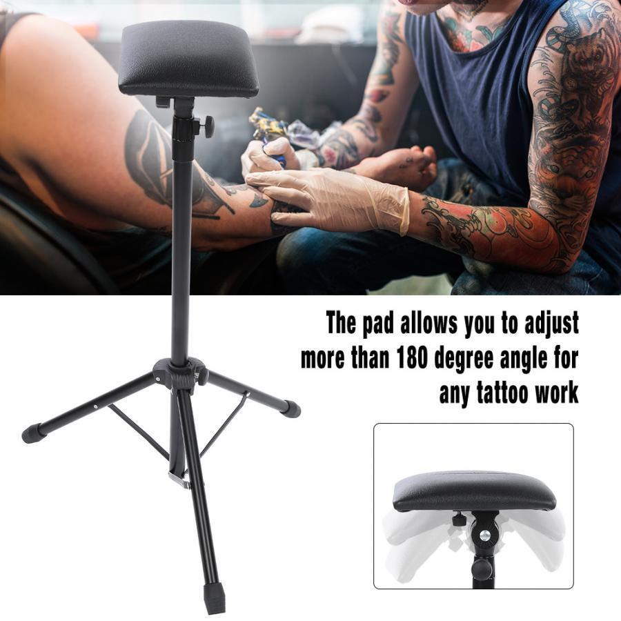 Reposabrazos de tatuaje ajustable en altura, soporte para trípode con almohadilla de esponja suave, reposapiés portátil para tatuaje