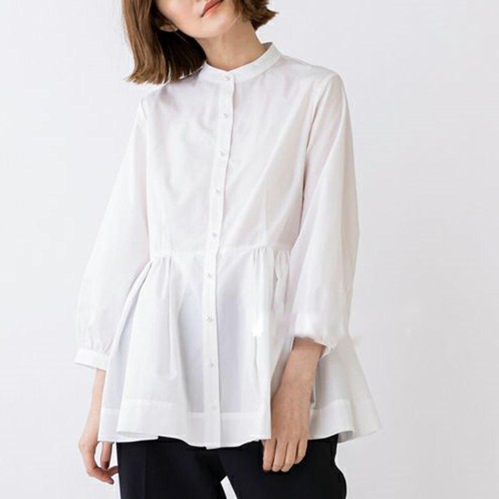 Jesienne ubrania Korea panie 2021 perłowe guziki kobiety bluzka z długim rękawem prostota biuro odzież dla kobiet kobieta Casual topy