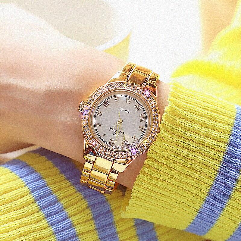 Bee Sister Women Watches Stainless Steel Strap Hardlex Roman Numerals Dial Rhinestones Waterproof Luxury Ladies Wristwatch 1639 enlarge