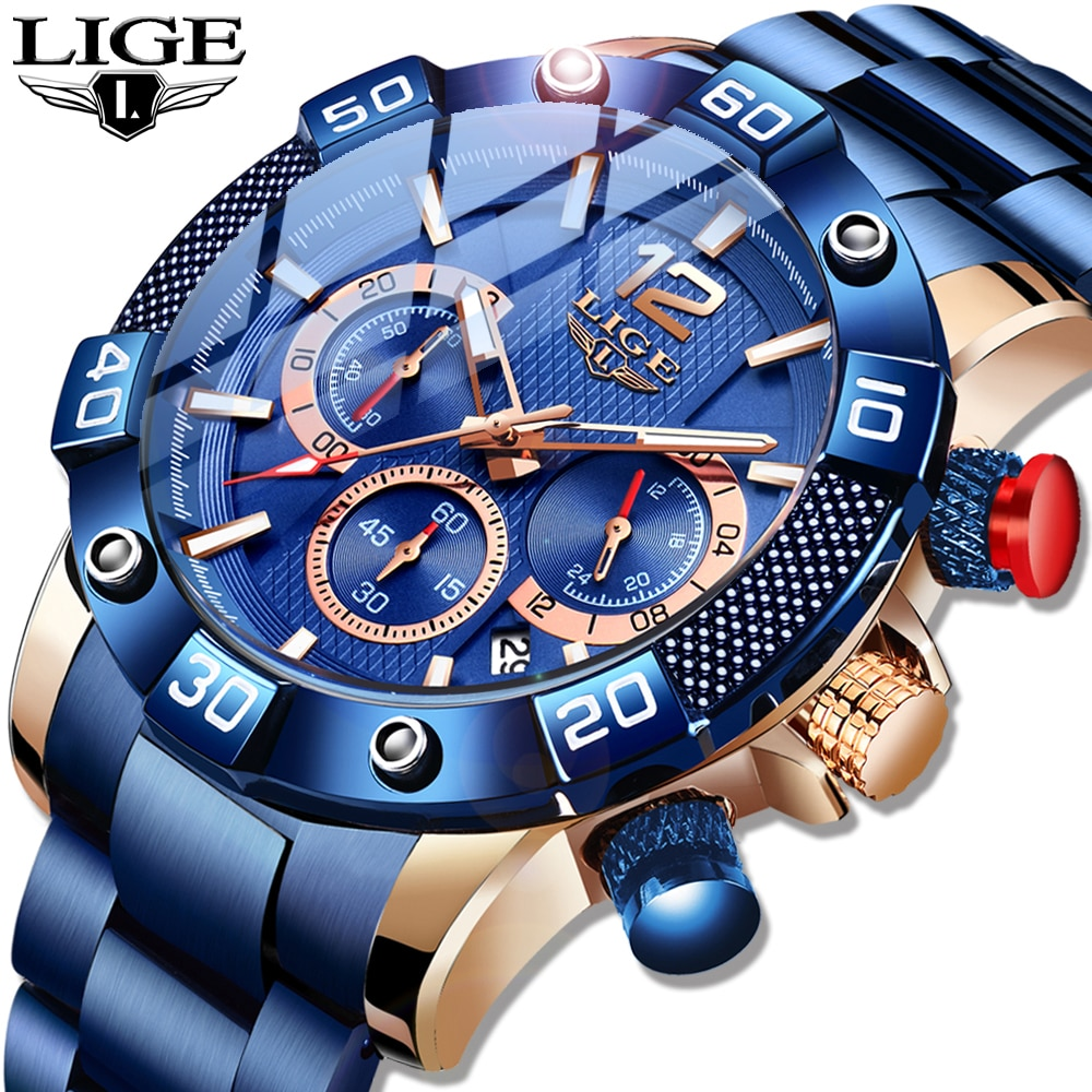 LIGE 2021 New Fashion Blue Mens Watches Top Brand Luxury Clock Sports Chronograph Waterproof Quartz