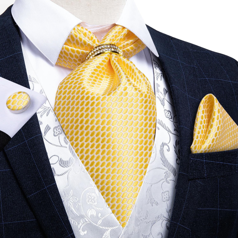 Men Fashion Yellow White Plaid Silk Cravat Ascot Luxury Wedding Formal Ascot Self British Style Neck Tie Accessories DiBanGu ботинки front by ascot front by ascot fr009amcjuc5