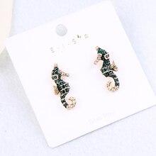 Серьги с зеленым кристаллом и эмалью в виде морского конька, милые золотые серьги с животными, индийские ювелирные изделия, Brincos
