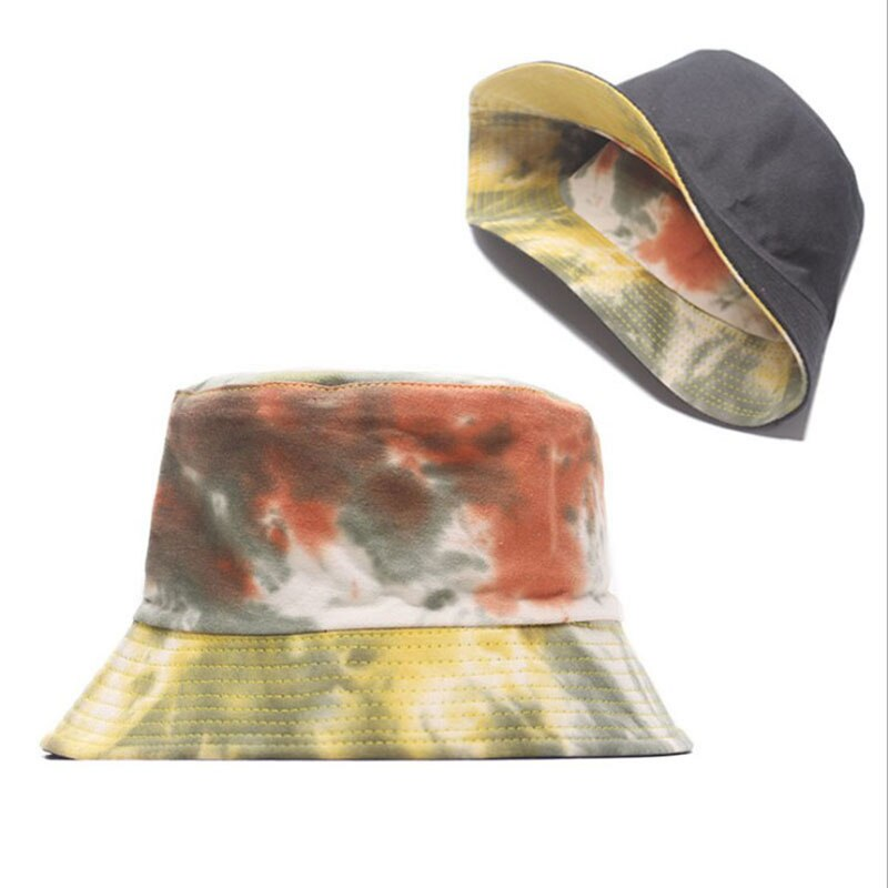 Panama Summer Casual Bucket Hat Colorful Starry Tie Dye Fisherman Hat Cotton Reversible Bob Bucket Cap For Men Women
