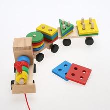 مركبة كتل خشبية قطار في وقت مبكر التعليمية طفل طفل خشبي خشب متين التراص قطار طفل الالعاب العملاقة مجموعة طفل هدية عيد ميلاد