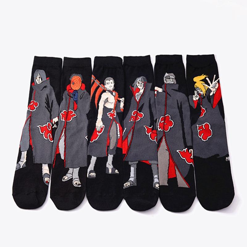 Anime Naruto cosplay socken Akatsuki Mitglieder Itachi Hoshigaki Kisame Cartoon persönlichkeit Mann socke mode lustige schwarz socken