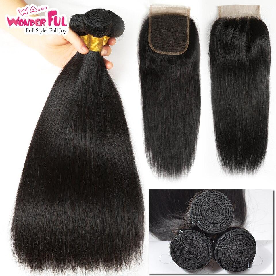 Remy Peruvian pelo mechones con cierre 4 pzas/lote cabello humano recto 3 mechones con cierre de la armadura del pelo humano