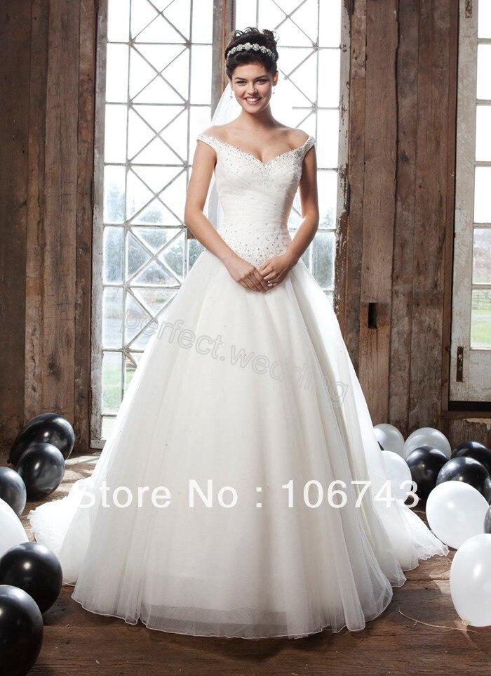 Kralen Rush بيع a خط شحن مجاني مخصص كم كاب اليدوية مطرز فستان زفاف حفلة موسيقية مسابقة فساتين زفاف مفصل