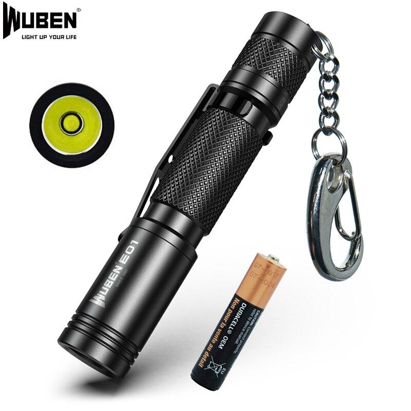 WUEBN E01 Mini porte-clés lampe de poche lumière LED CREE XP-G3 utilisé torche IP68 étanche lumière extérieure Mini AAA batterie lampe de poche