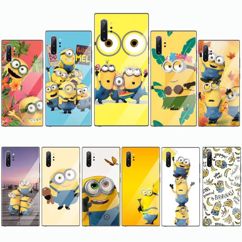 Gru niños Minions D Me suave teléfono cubierta de vidrio templado para Samsung S7 S6 edge S8 S9 S10 e plus note8 9 10 pro