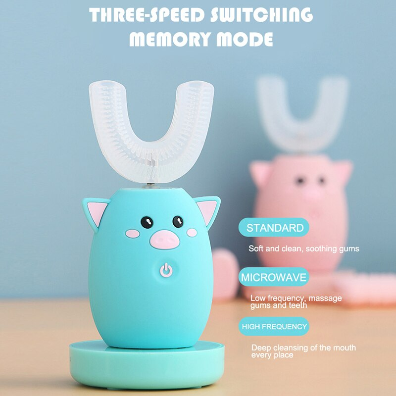 Children 360 Degrees Sonic Intelligent Automatic Electric Toothbrush 3 Modes Rechargeable U Type Toothbrush For Kids Best Gift
