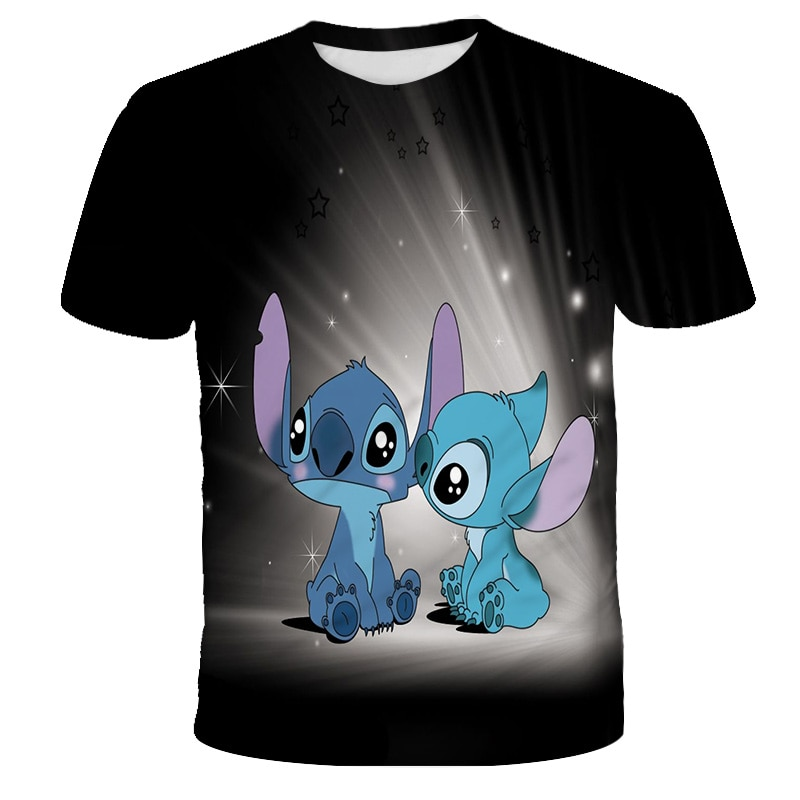Summer Girl Stitch T-shirt Clothing Cute Children's Cartoon Anime Short Sleeve Blue Boy Casual O Neckline T-shirt