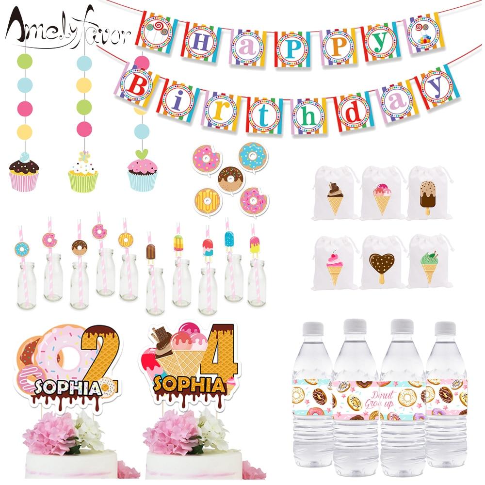 Suministros de fiesta de hora del té, caja de regalo de invitaciones, Banner, bolsa de regalo de paja, decoración de agua, globos de botella, decoración de fiesta de cumpleaños