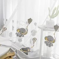 modern window tulle elephant fashion voile cartoon sheer cute curtain living kids room bedroom