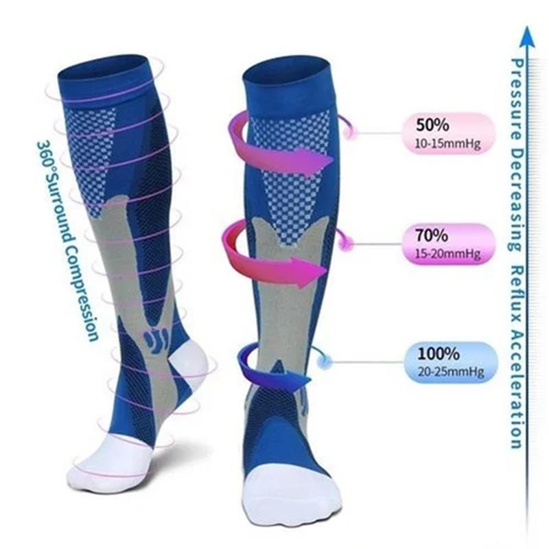 44 أنماط الرجال النساء جوارب ضغط صالح للرياضة جوارب ضغط أسود مكافحة التعب الألم الإغاثة الركبة جوارب عالية 1 Pair