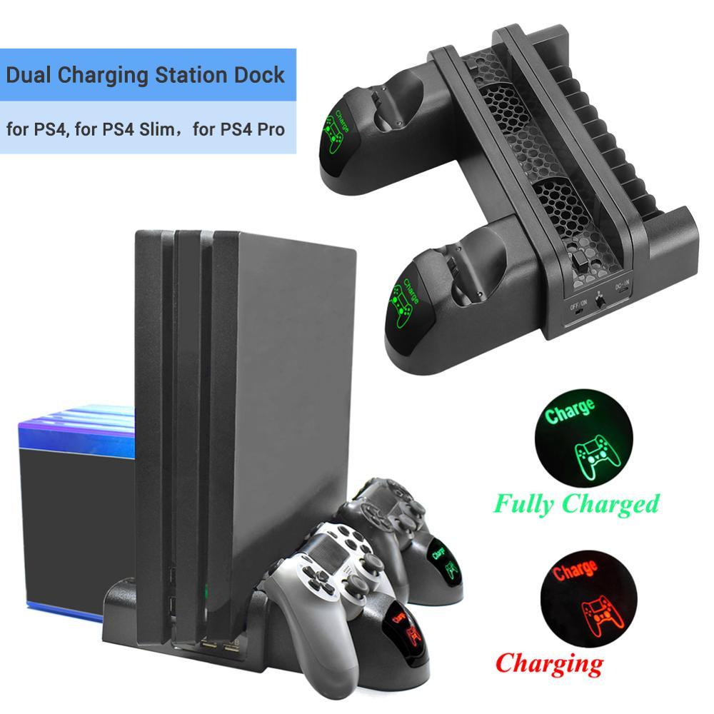 3 в 1 двойная зарядная док-станция с охлаждающим вентилятором, usb-портами, 12 слотами, держатель диска для PS4/PS4 Slim/PS4 Pro, игровые аксессуары