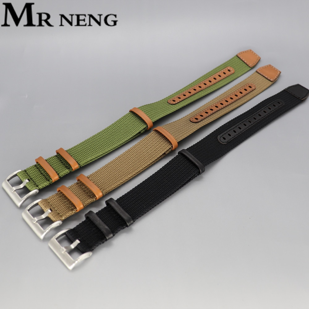 Nylon watch belt suitable For Hamilton watch with black army green card its field NATO genuine leath