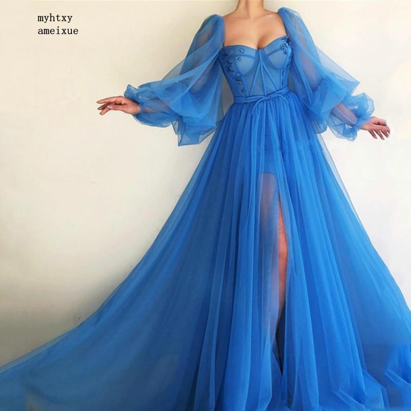 2021 الأزرق دبي فساتين سهرة طويلة مثير شق الخامس الرقبة مطرز تول فستان رسمي لحفلات السهرة رداء رخيصة ثوب مسائي طويل