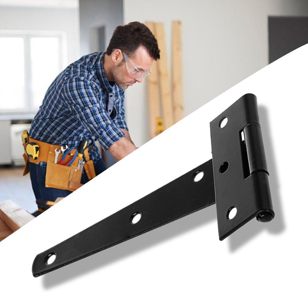 Bisagra T galvanizada negra para el hogar, bisagra triangular en T para jardín ranurado para puerta de madera de 4/6/8/10/puerta de rodamiento de 12 pulgadas S U5K8