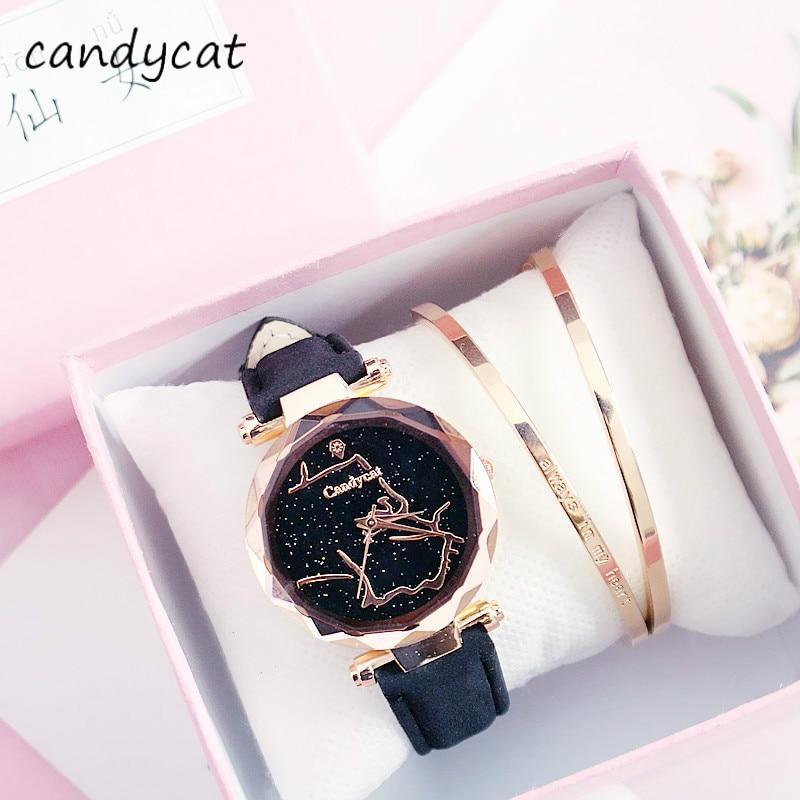 Reloj CandyCat de estrella para mujer, reloj de cuarzo atmosférico a la moda para estudiantes coreanos para mujer, reloj de mujer para regalo